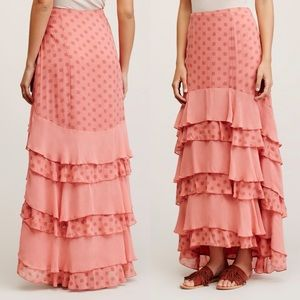 Free People Wildflower Ruffle Maxi Skirt in Pink S